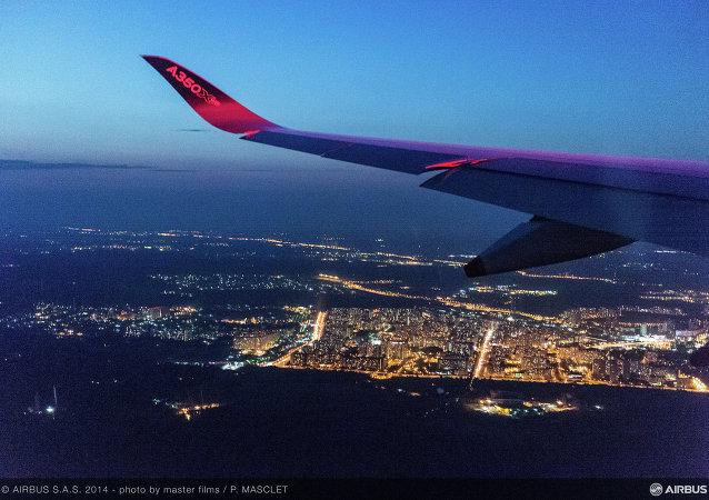 La vista de Moscú fotografiada desde un avión de Airbus