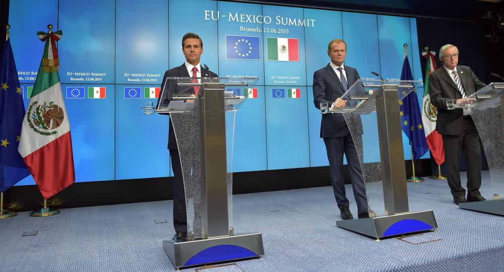 Enrique Peña, presidente de México, Donald Tusk, presidente del Consejo Europeo y Jean-Claude Junker, presidente de la Comisión Europea