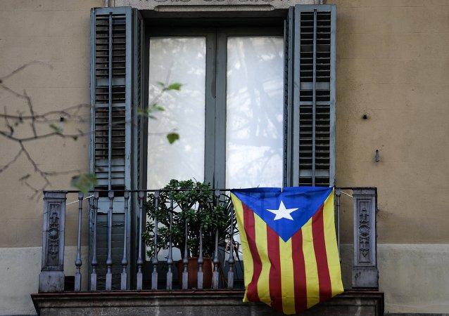Bandera de Cataluña en Barcelona
