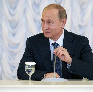 El presidente de Rusia, Vladímir Putin, antes de reunión con representantes de los inversores extranjeros