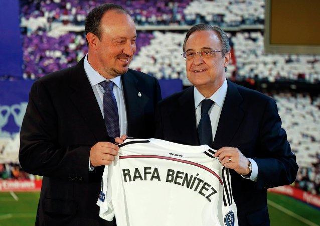 Entrenador del Real Madrid, Rafa Benítez y presidente del Real Madrid Florentino Pérez