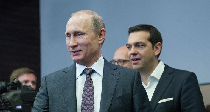Presidente de Rusia, Vladímir Putin, y primer ministro de Grecia, Alexis Tsipras