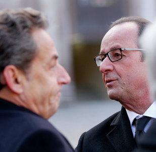 Expresidente de Francia, Nicolás Sarkozy y presidente francés, François Hollande