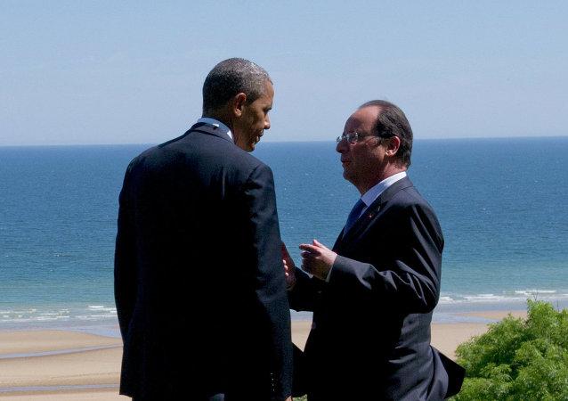 Presidente de EEUU, Barack Obama y presidente de Francia, François Hollande