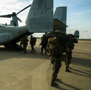 Marines estadounidenses en la base de Morón de la Frontera
