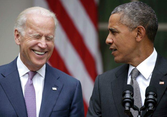 Presidente de EEUU, Barack Obama con vicepresidente, Joe Biden