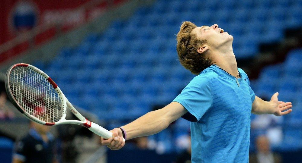 Andrey Rubliov, tenista ruso, en la Copa Davis 2014