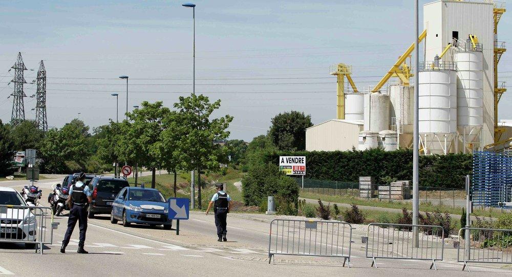 Lugar del ataque terrorista a la fábrica de gas industrial en el departamento de Isere (Francia)