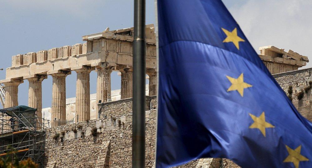 Bandera de la UE en Grecia
