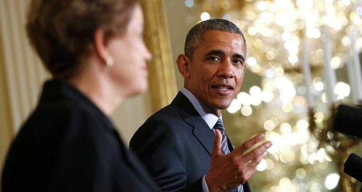 Presidente de EEUU, Barack Obama con la presidenta de Brasil, Dilma Rousseff