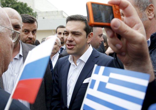 Primer ministro de Grecia, Alexis Tsipras, durante su visita a San Petersburgo, Rusia