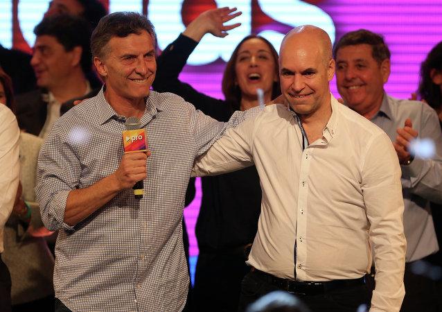 Actual jefe de gobierno Buenos Aires, Mauricio Macri, y Horacio Rodríguez Larreta, pre candidato presidencial