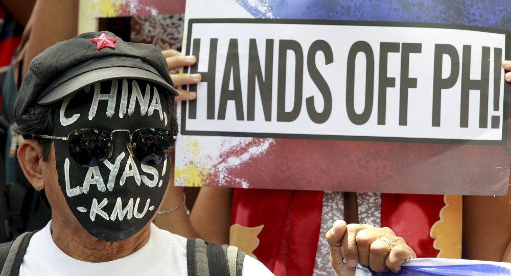 Protesta en contra de la actividad de China en el Mar del Sur de China, Manila, Filipinas, el 7 de julio, 2015