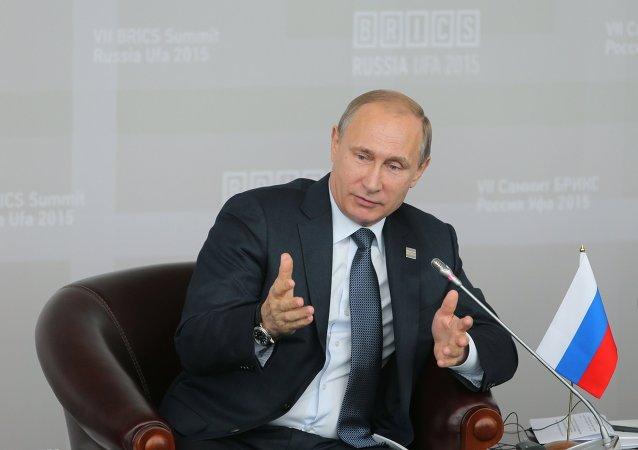Vladímir Putin, presidente de Rusia, en la cumbre de BRICS en Ufá, Rusia, el 9 de julio, 2015