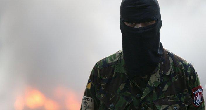 Militante del movimiento Pravy Sektor (archivo)