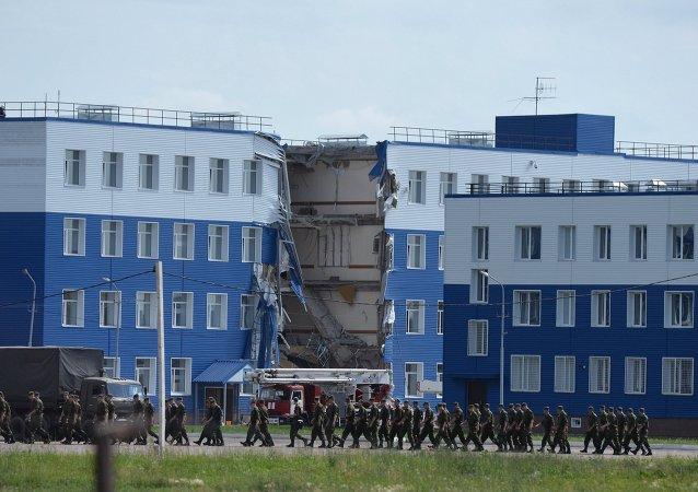 Cuartel militar destruido en la región de Omsk