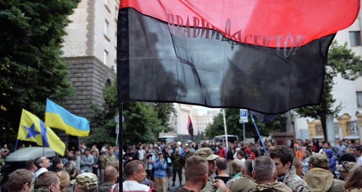 Partidarios del grupo radical ucraniano Pravy Sektor
