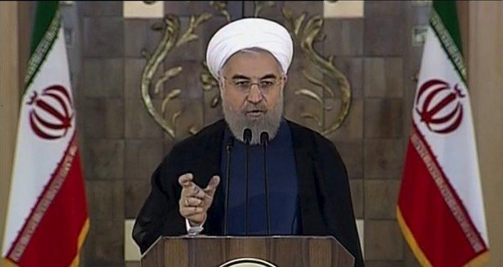 Captura de pantalla del discurso de Hasán Rohani, 14 de julio, 2015