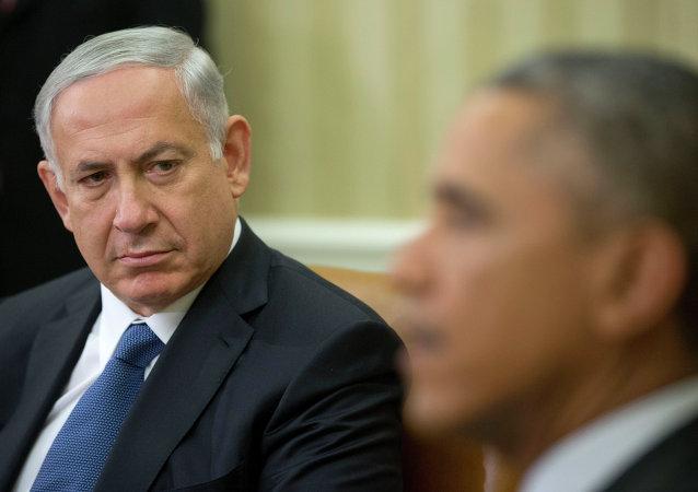 Primer ministro israelí, Benjamín Netanyahu, durante su reunión en Casa Blanca en Washington