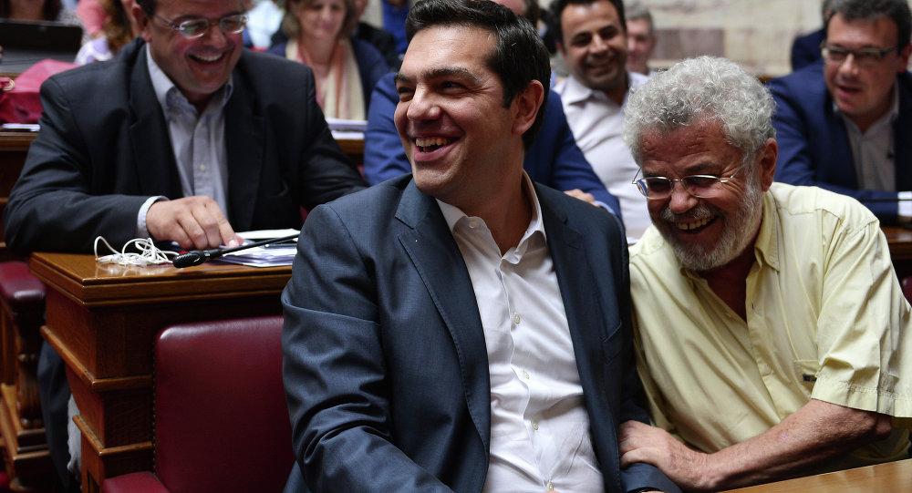Alexis Tsipras, primer ministro de Grecia, durante la reunión del grupo parlamentario Syriza