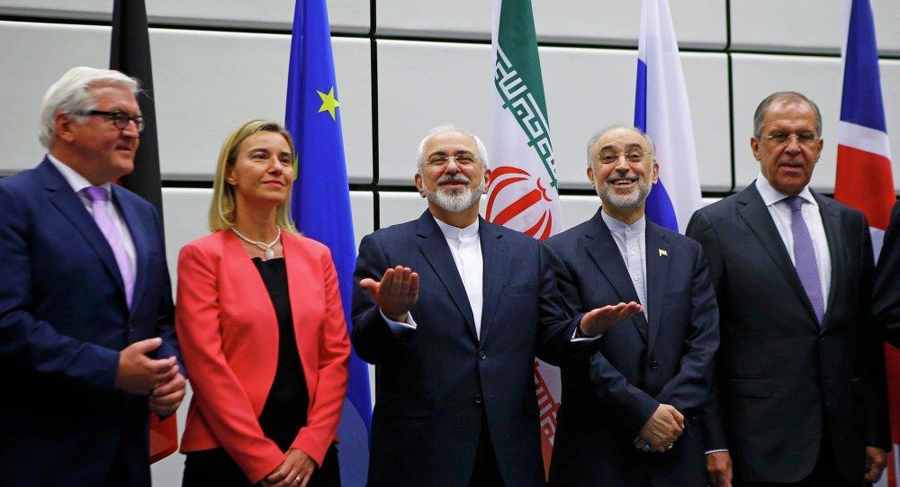 Participantes de las negociaciones sobre el programa nuclear iraní en Viena. 14 de julio de 2015