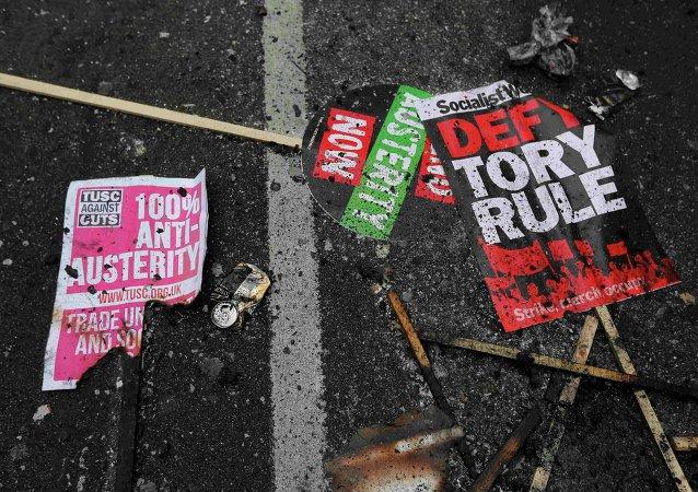 Protesta en contra de austeridad en Londres