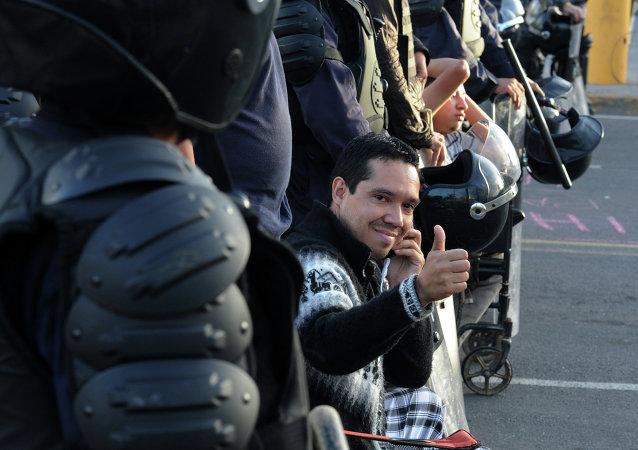Un miembro del movimiento hondureño de oposición indignada, Ariel Varela