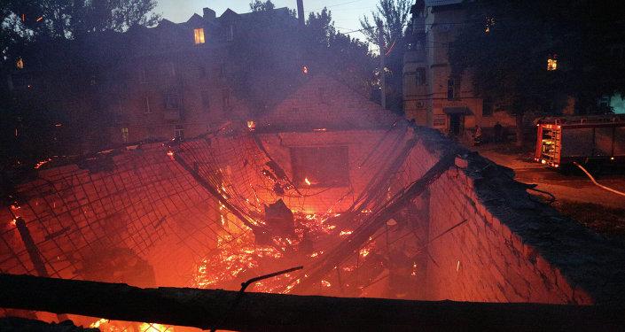 Situación en Donetsk después de los bombardeos (archivo)