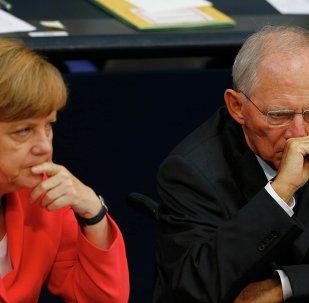 Canciller de Alemania, Angela Merkel y ministro de Finanzas de Alemania, Wolfgang Schäuble