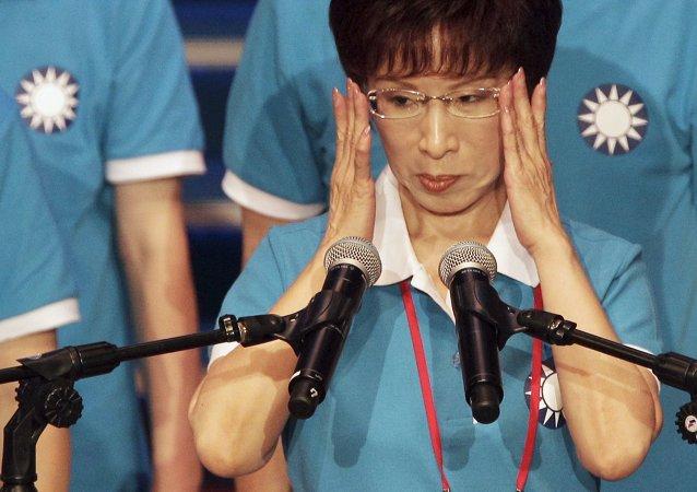 Hung Hsiu-chu, candidata del partido gobernante de Taiwán Kuomintang (KMT), el 19 de julio, 2015