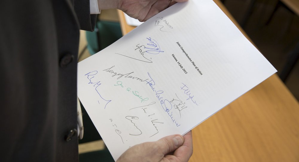 Copy of the Joint Comprehensive Plan of Action regarding Iran's nuclear programme is pictured in Vienna, Austria, July 14, 2015
