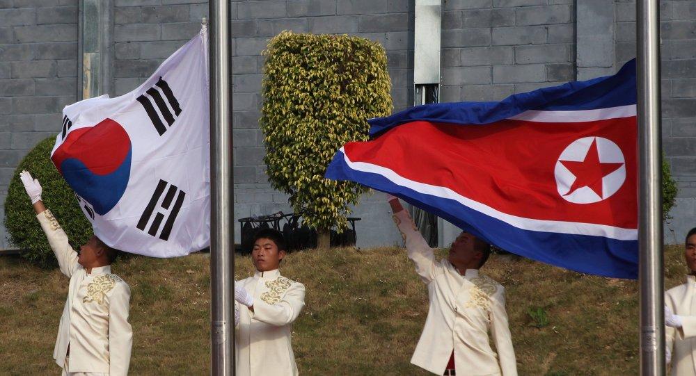 Banderas de Corea del Sur y Corea del Norte
