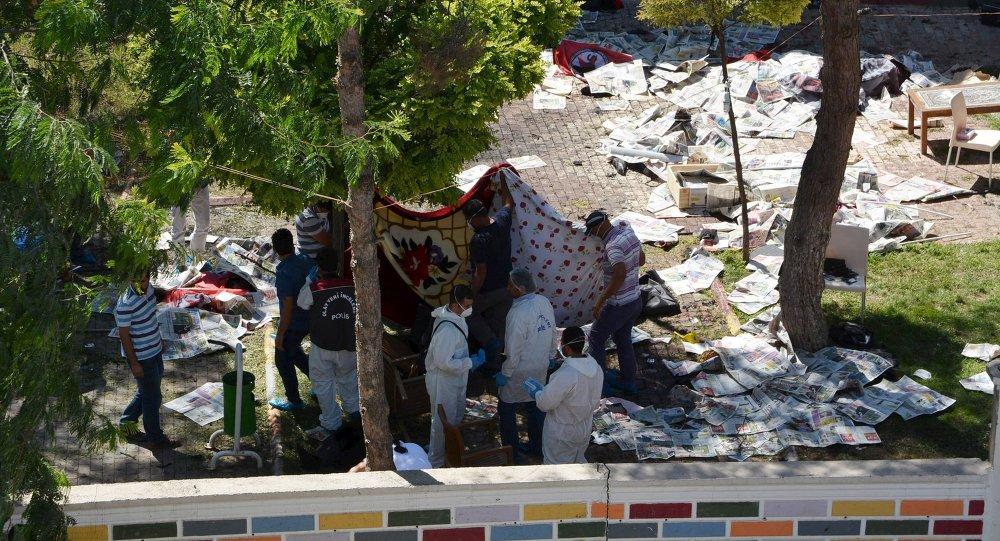 Lugar del atentado en Suruc