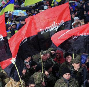 Mitin del grupo Pravy Sektor en Dnepropetrovsk, Ucrania