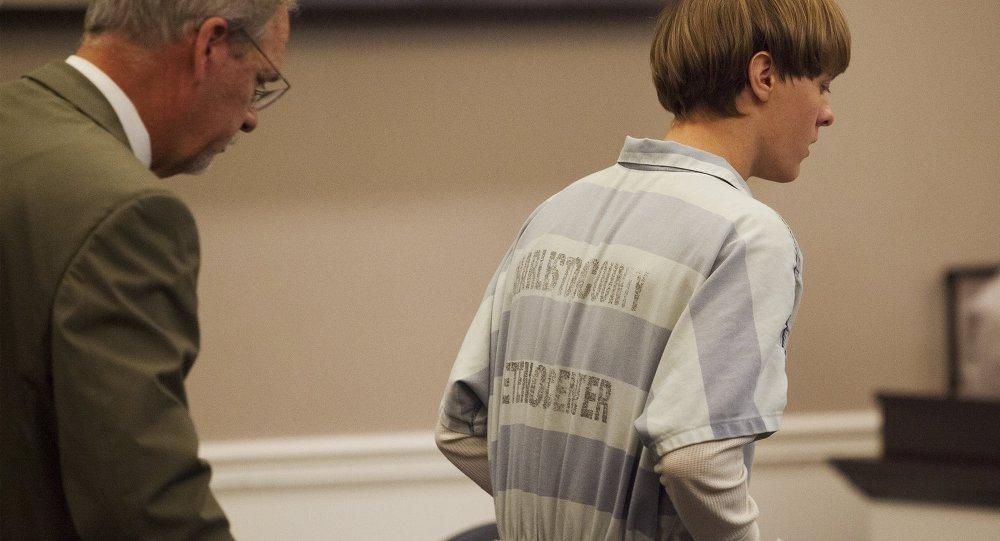 Dylann Roof, durante la audición en el Centro Judicial en Charleston