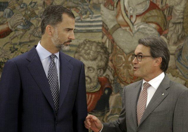 Felipe VI, rey de España, y Artur Mas, presidente de Cataluña, el 17 de julio, 2015