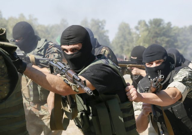 Entrenamiento de los combatientes de la Guardia Nacional ucraniana