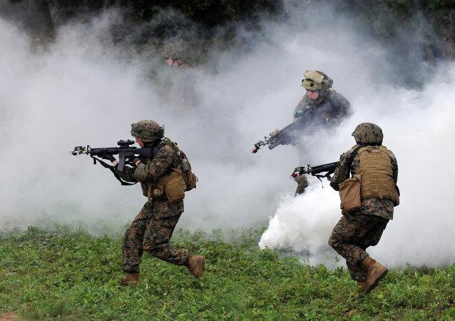 Soldados estadounidenses durante los ejercicios en Ucrania
