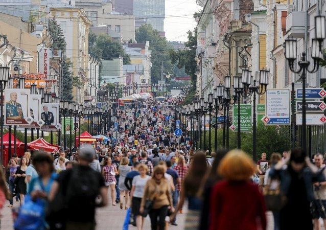 Gente en una de las calles de Nizhni Nóvgorod