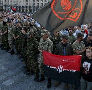 Miembros del movimiento radical Pravy Sektor en el centro de Kiev