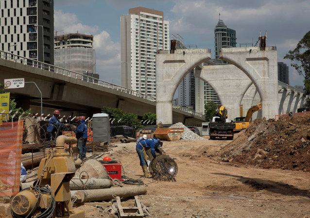 Сonstrucción del metro de Sao Paulo, Brasil