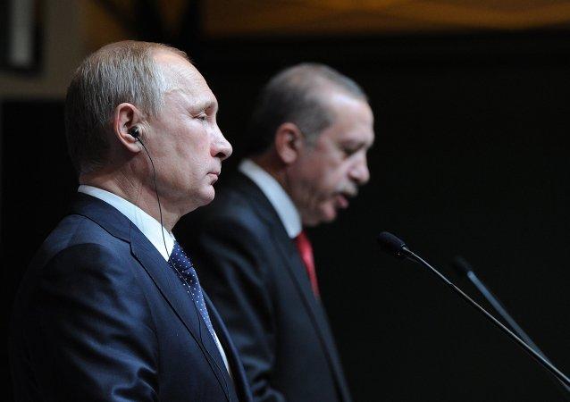 Presidente de Rusia, Vladímir Putin, y su homólogo turco, Recep Tayyip Erdogan (archivo)