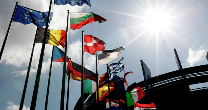 Flags are seen at the European Parliament