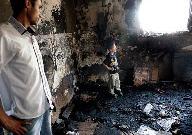 La casa de Saed y Riham Dawabsha en el pueblo palestino de Duma