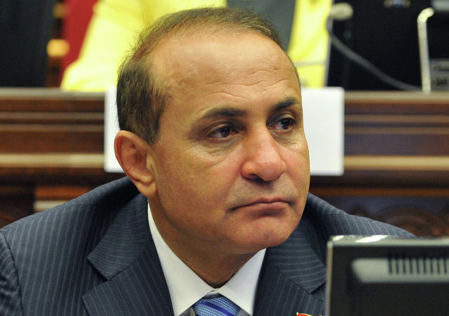 Armenia's new prime minister Ovik Abraamian attending a parliament session in Yerevan