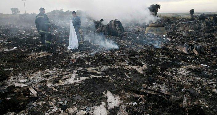 Lugar del siniestro del MH17 en Ucrania