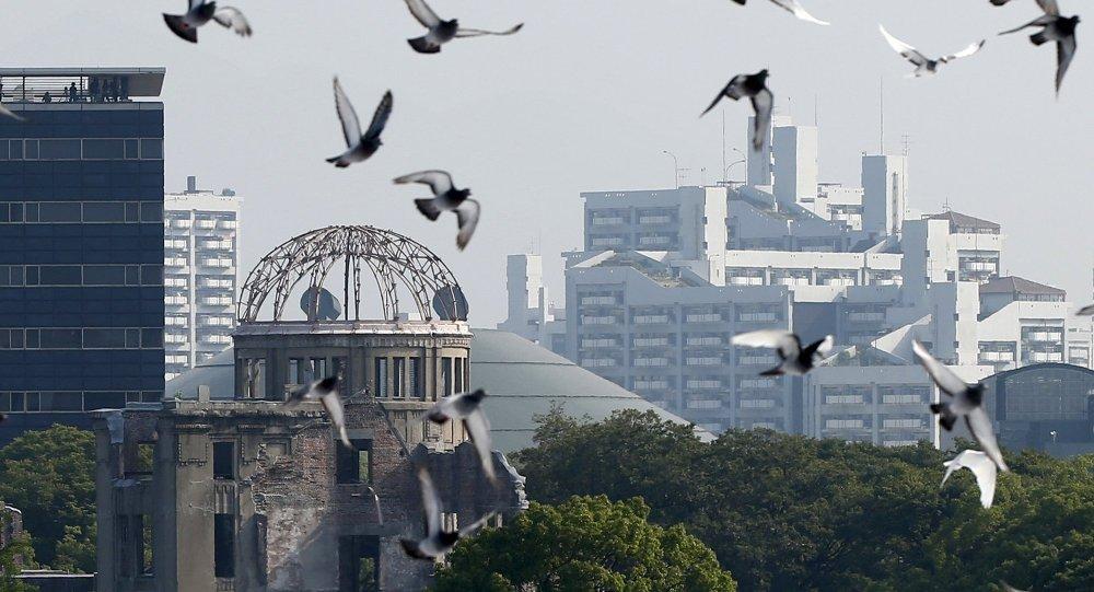 Cúpula Atómica en el Parque Memorial de Paz de Hiroshima, Japón, el 6 de agosto, 2015