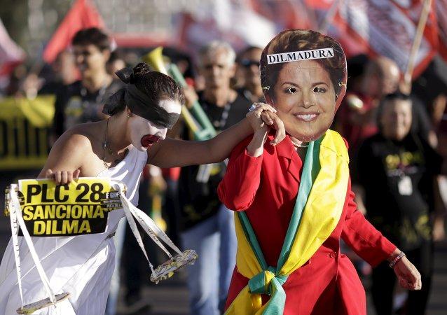 Protesta contra Dilma Rousseff en Brasil