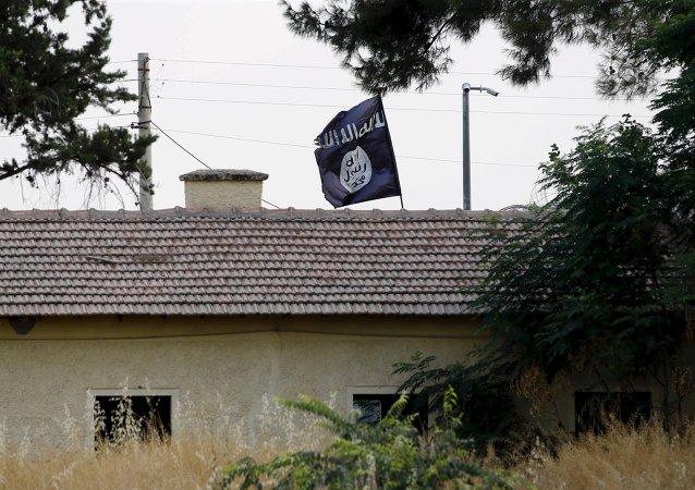 La bandera del Estado Islámico en la frontera entre Siria y Turquía