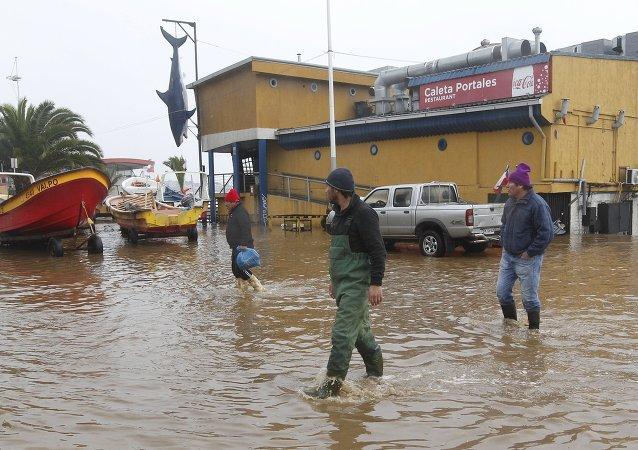 Inundación por el temporal en Chile